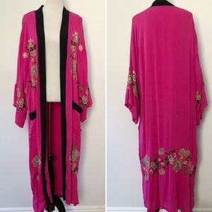 Free People Floral Embroidered Pink Kimono Duster